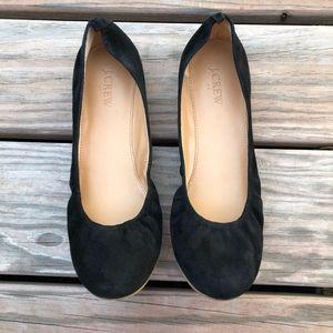J.CREW Anya Black Suede Ballet Flats